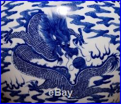 Spectacular Very Large Rare Chinese Blue And White Porcelain Bottle Vase FA026