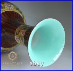 Stunning Large Chinese Handpainted Faux Bois Porcelain Vase Signed
