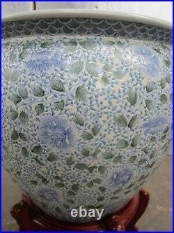 Stunning Vintage Large Chinese Oriental Ceramic Gold Fish Koi Bowl Tank & Stand