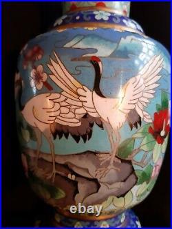 Stunning Vintage Rare Large Chinese Cloisonne Vase Cranes Peony Lotus Cherry
