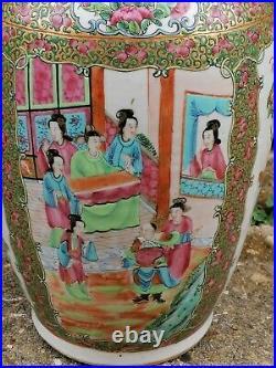 Superb 19th Century Cantonese Hand Painted Large Porcelain Vase Mint Condition