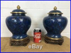 Superb Antique Chinese Matching Pair Cloisonne Vases, Cobalt Tones 12