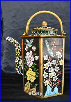 Superb Antique Enamel Cloisonne Chinese Large Teapot Bird & Flowers Design