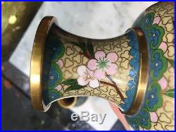 Superb Pair Of Old Or Antique Chinese Large Cloisonne Vases Yellow Birds