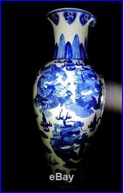 VINTAGE Large Blue and White Porcelain Dragon Jar Vase