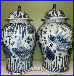 Very Large 52cm Chinese Blue And White Ginger Jar Vases With Foo Dog Covers