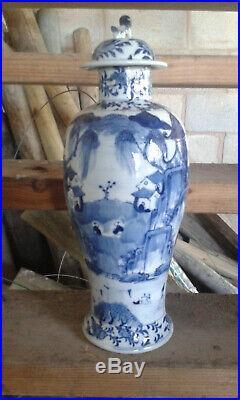 Very large chinese blue and white porcelain vase antique kangxi mark antique