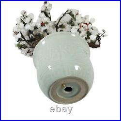Vintage 16 Large Chinese Bonsai Jade Tree White Flowers Green Ceramic Pot vase