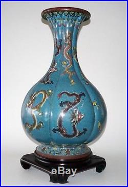 Vintage 20C Chinese Large Cloisonne Lobed Bottle Vase w. Writhing Dragons