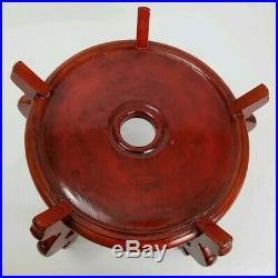 Vintage Chinese Carved Wood Display Stand Base Fish Bowl Vase Urn Large 15