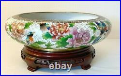 Vintage Chinese Cloisonne Enamel Fruit Bowl Punch Large/stand 7 Ins Tall