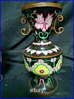 Vintage Chinese Pair of Large Cloisonné Vases