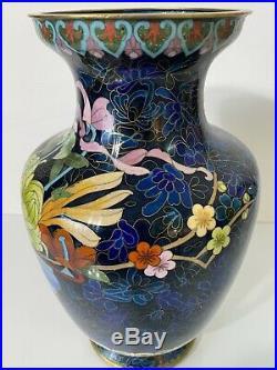 Vintage Large 12 Cloisonne Vase Vibrant Color (VNC)