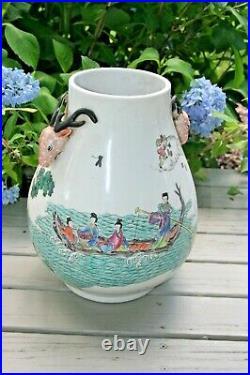 Vintage Large Chinese Marked Famille Rose Porcelain Deer Handle Vase Urn