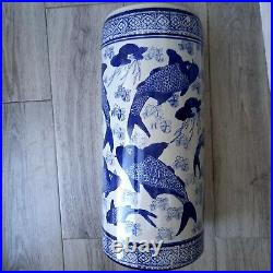 Vintage antique Chinese blue and white large, tall pot vase, umbrella stand VGC