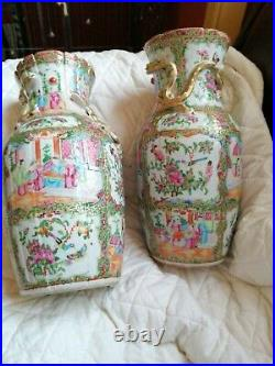 Vintage antique large chinese cantonies rose 14 Inc been repaired. Good repair