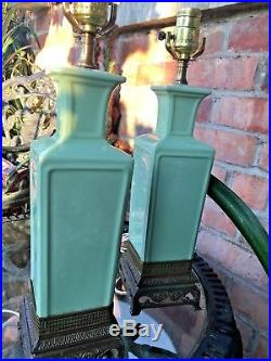 Vintage pair Large Chinese apple green vase table lamps with brass base