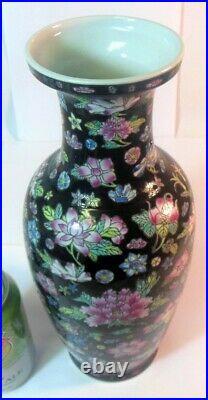 Vtg CHINESE Porcelain Famille Noire Black Large Baluster Vase Enamel Flowers
