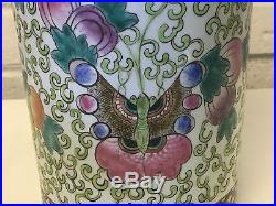 Vtg Chinese Large / Tall Brush Washer or Cylinder Vase with Butterflies & Flowers