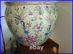 Vtg Large 28 lb Asian Chinese Floral Koi Fish Bowl Vase Planter Jardiniere